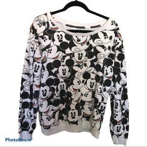 Disney Mickey Mouse faces print sweatshirt